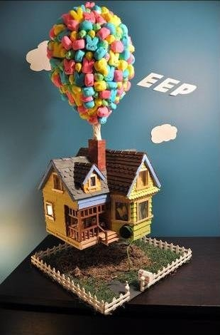 """Eep""--a clever play on Pixar's ""Up"" Film--The Winner of the Washington Post's 2010 Peeps Diorama Contest"