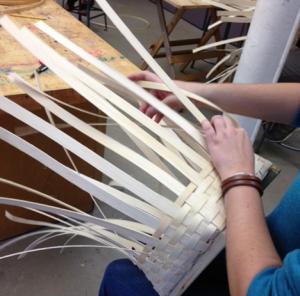 Student Weaving Basket
