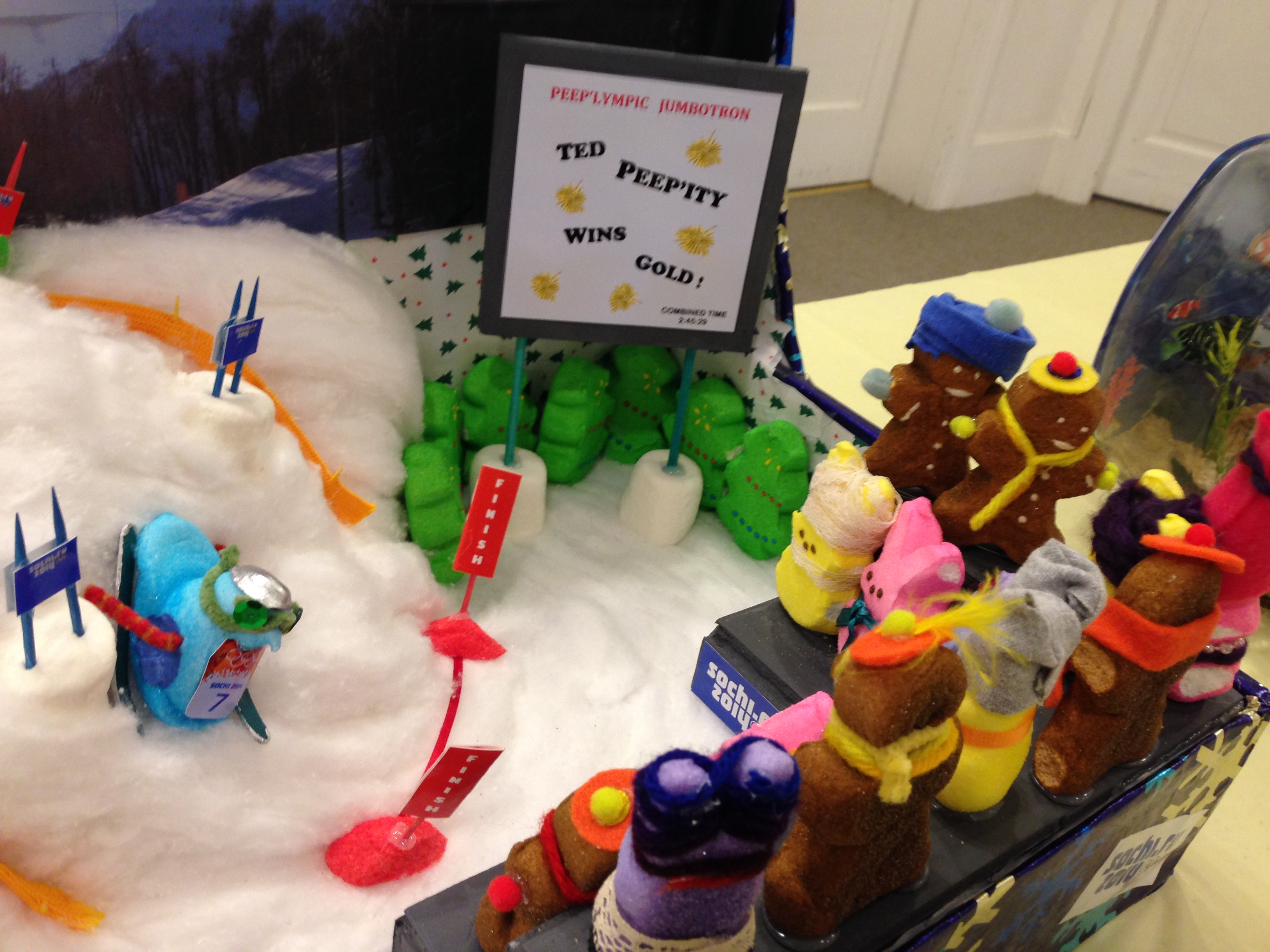 Library Arts Center 2014  Peeps Diorama Contest - Ted Peepity wins Olympic Gold