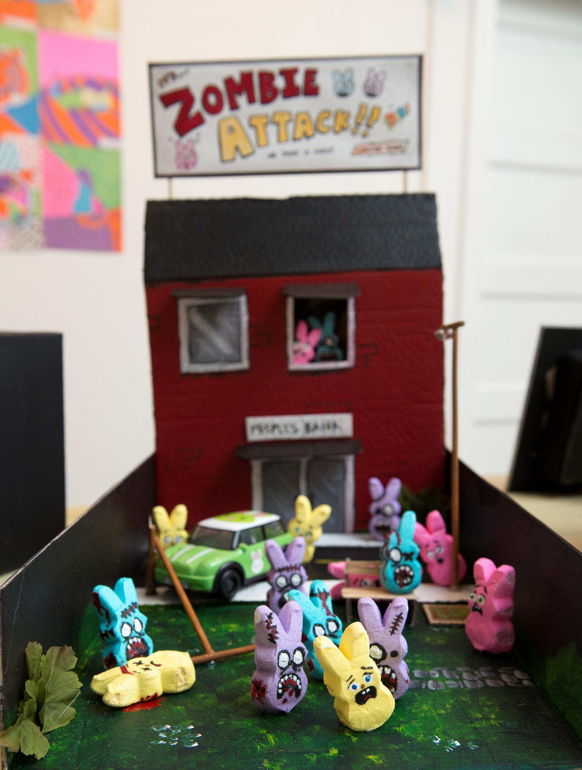 Library Arts Center Peeps Diorama Contest Peeps Zombie Attack! by Stephanie Zara