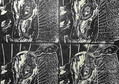 Elizabeth D'Amico - Who Me - Hand-pulled Relief Prints - Linocuts