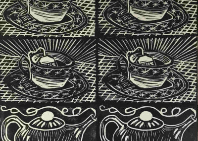 Elizabeth D'Amico - Tea Time - Hand-pulled Relief Prints - Linocuts