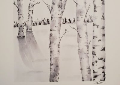 Kristen Fenn - Winter Birch - Watercolor