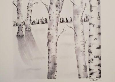 Kristen Fenn - Winter Birch - Watercolor