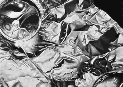 Sandra Williams-Crossley - Reflections of Tin and Spheres - Charcoal & Graphite Drawing