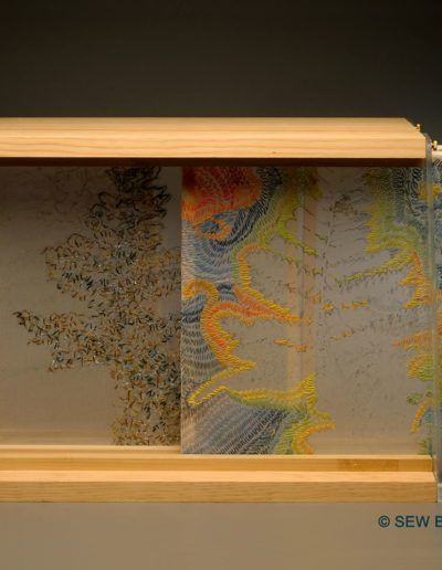 Shari Boraz & Gail Smuda - Morning Fog Emerges - Cotton, Silk and Synthetic Threads on Silk Chiffon- $850