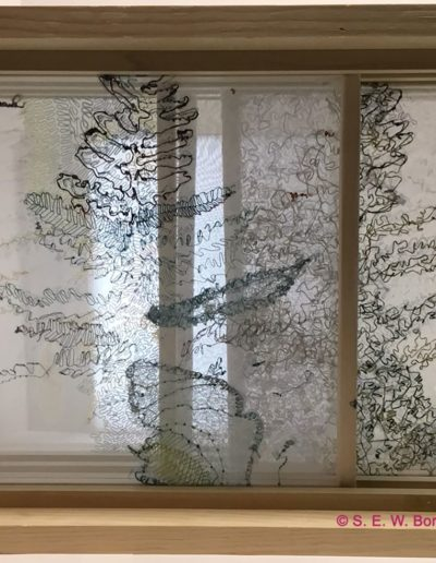 Shari Boraz & Gail Smuda - Morning Fog Emerges (backlit view), cotton, silk, and synthetic threads on silk chiffon, $850