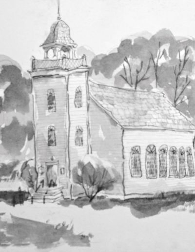 Mary Bourdon - Old Church - India Ink on Paper - NFS