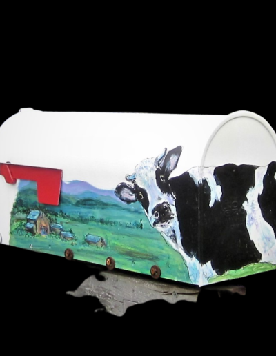 Andrea Lapins - Curious Cow Hand Painted Rural Mailbox - Acrylic on Mailbox - $235